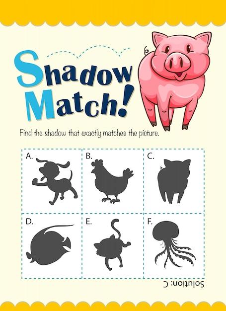 Modello di gioco con maiale di corrispondenza ombra Vettore gratuito