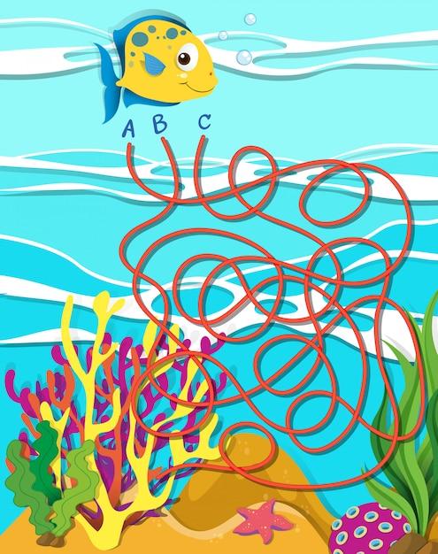 Modello di gioco con pesci e barriera corallina Vettore gratuito
