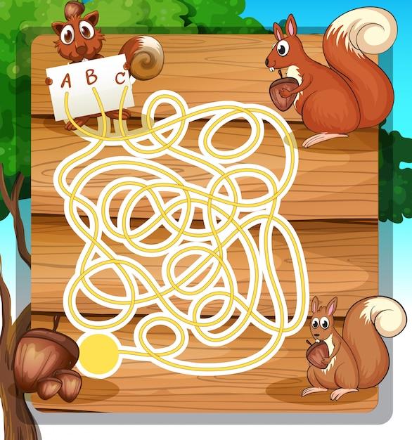 Modello di gioco con scoiattoli e noci Vettore gratuito