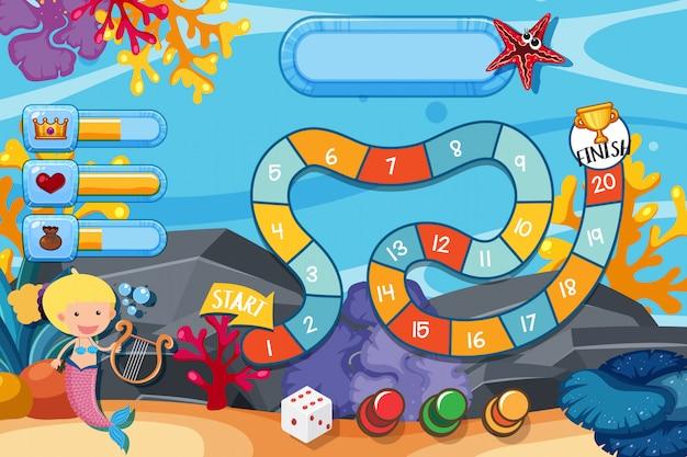 Modello di gioco con sirena sotto e corallo sott'acqua Vettore Premium