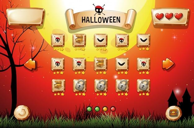Modello di gioco con tema halloween Vettore gratuito