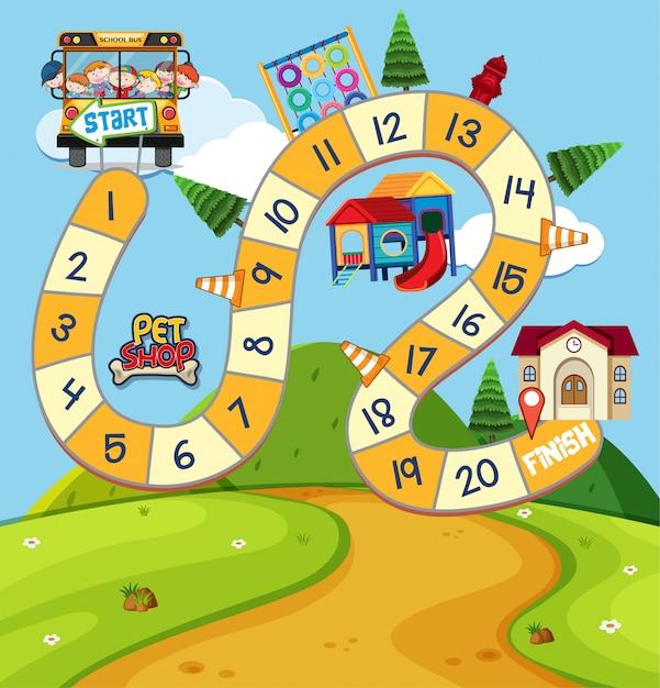 Modello di gioco da tavolo con bambini e parco giochi Vettore Premium