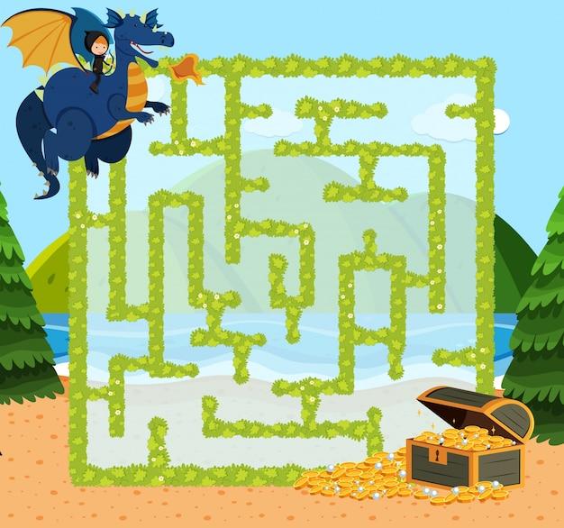 Modello di gioco del labirinto con drago e oro Vettore Premium