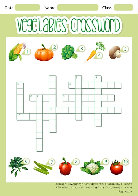 Modello di gioco di parole incrociate di verdure Vettore gratuito