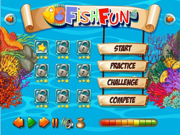 Modello di gioco di pesci sott'acqua Vettore Premium