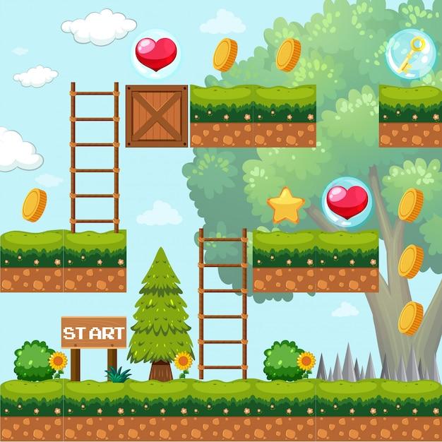 Modello di gioco nella scena della foresta Vettore gratuito