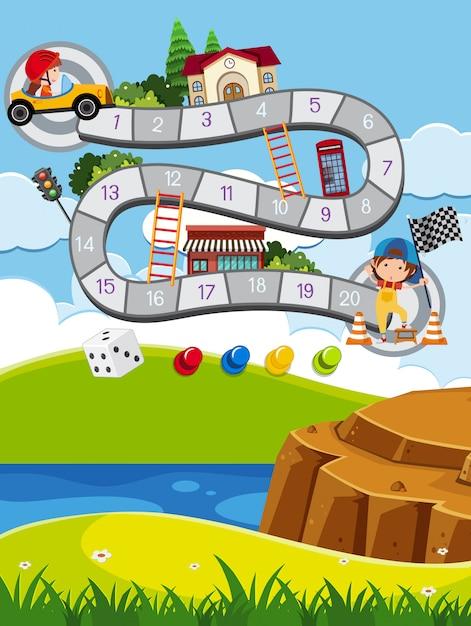 Modello di gioco per bambini all'aperto Vettore Premium