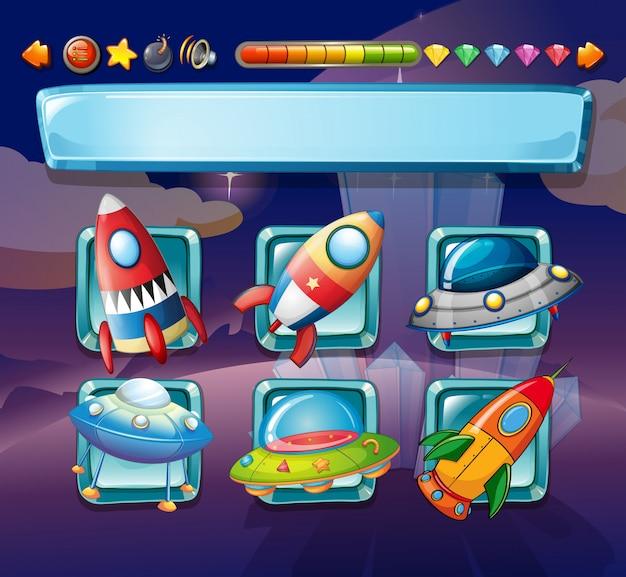 Modello di gioco per computer con astronavi Vettore gratuito