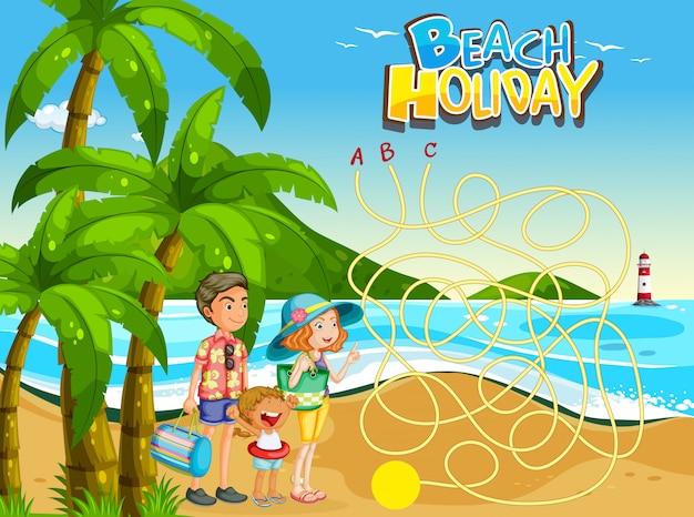 Modello di gioco per famiglie in spiaggia Vettore gratuito