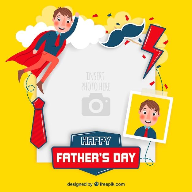 Modello di giorno di padri per incollare l'immagine Vettore gratuito