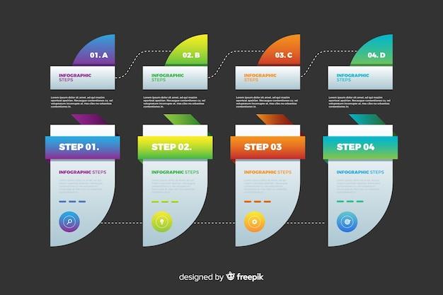 Modello di gradiente infografica passi Vettore gratuito