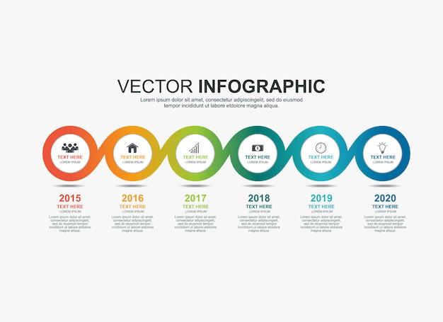 Modello di grafico di processo timeline elementi cerchio infografica Vettore Premium