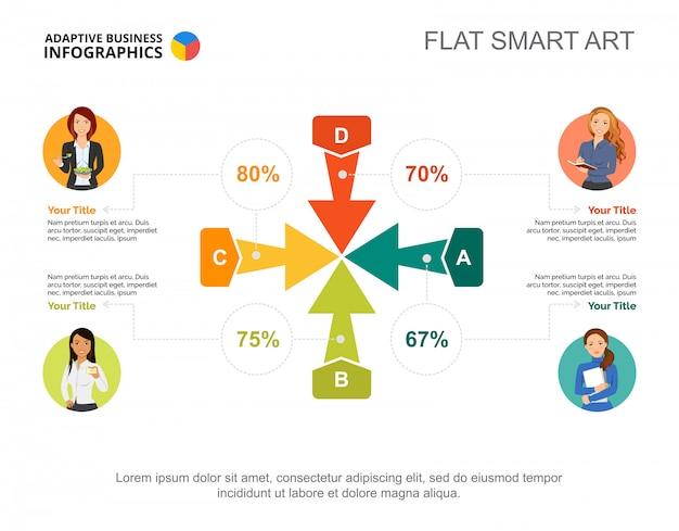 Modello di grafico percentuale quattro frecce per la presentazione. dati aziendali Vettore gratuito