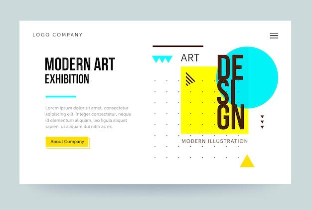 Modello di home page per il sito web della galleria d'arte Vettore Premium