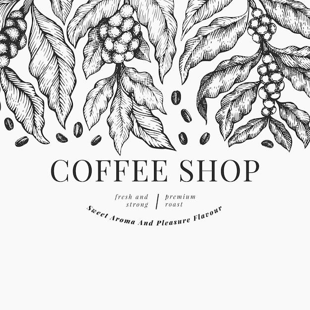 Modello di illustrazione del caffè Vettore Premium
