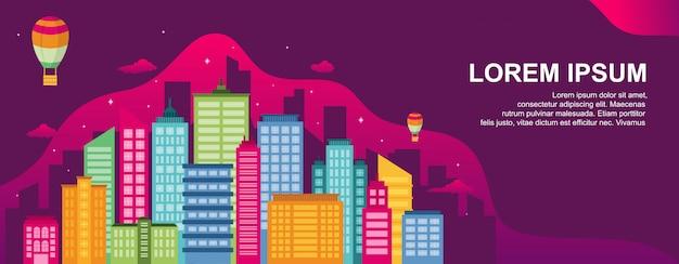 Modello di illustrazione orizzontale del punto di riferimento del paesaggio urbano di concetto di vita di città Vettore Premium