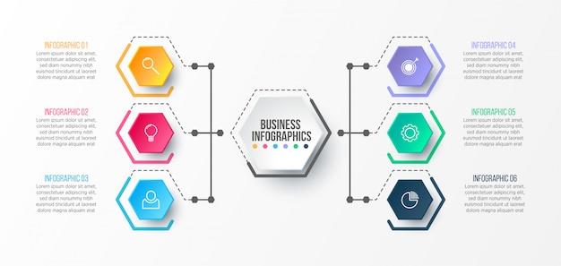 Modello di infografica 3d per la presentazione. visualizzazione dei dati aziendali. elementi astratti concept creativo per infografica. Vettore Premium