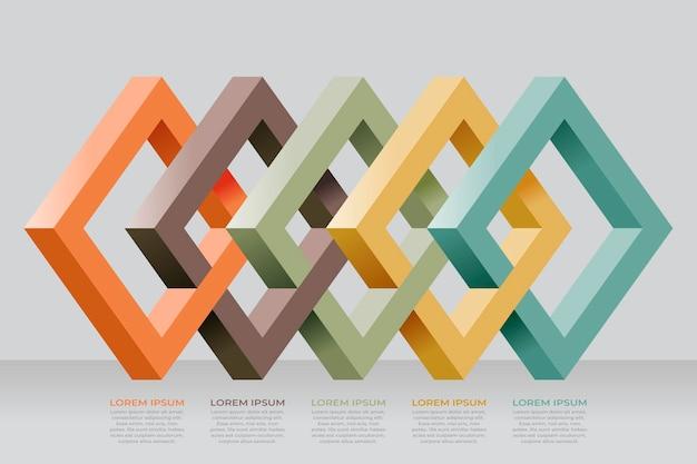Modello di infografica a strati di blocco Vettore gratuito