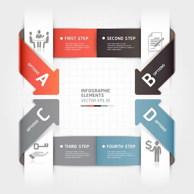 Modello di infografica affari freccia astratta. Vettore Premium