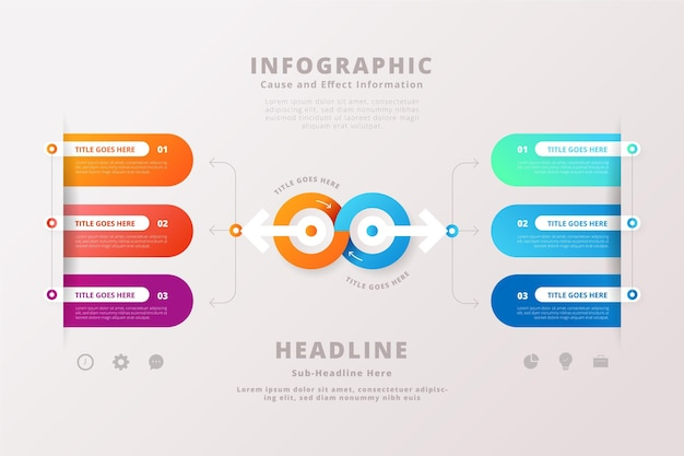 Modello di infografica causa ed effetto gradiente Vettore gratuito