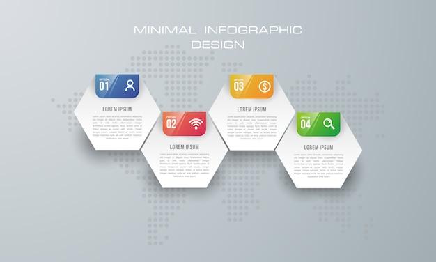Modello di infografica con 4 opzioni, flusso di lavoro, diagramma di processo Vettore Premium