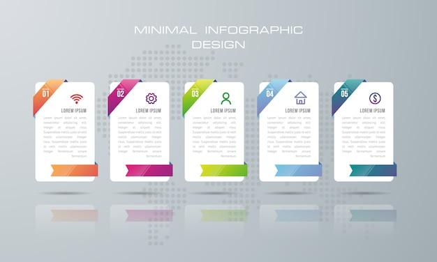 Modello di infografica con 5 opzioni, flusso di lavoro, diagramma di processo, progettazione infografica timeline Vettore Premium