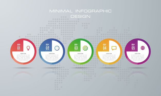 Modello di infografica con 5 opzioni Vettore Premium