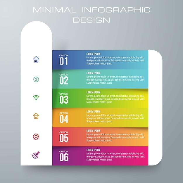Modello di infografica con 6 opzioni Vettore Premium
