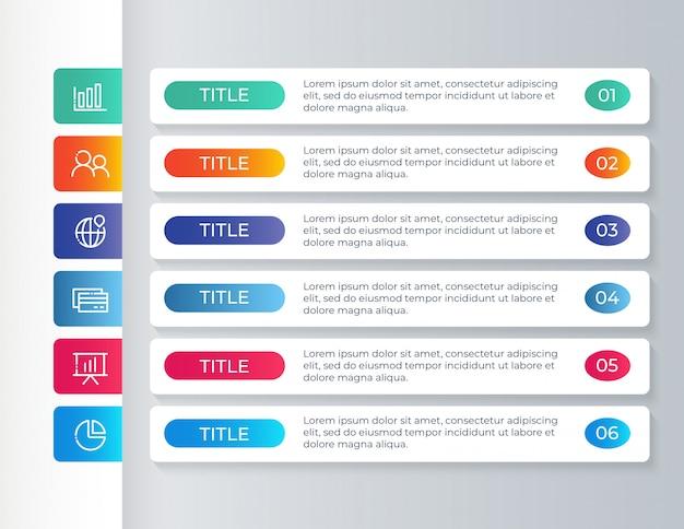 Modello di infografica con 6 passaggi di opzioni Vettore Premium