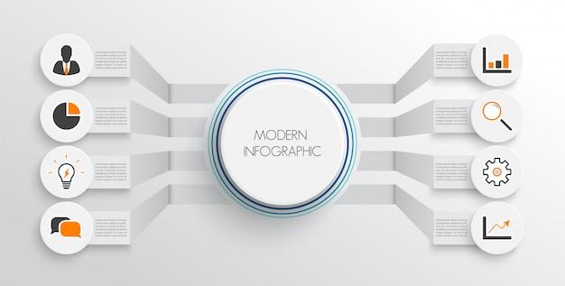 Modello di infografica con carta 3d Vettore Premium