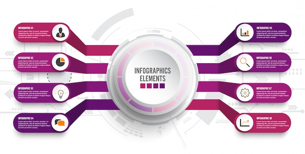 Modello di infografica con etichetta di carta 3d. affari con 8 opzioni Vettore Premium
