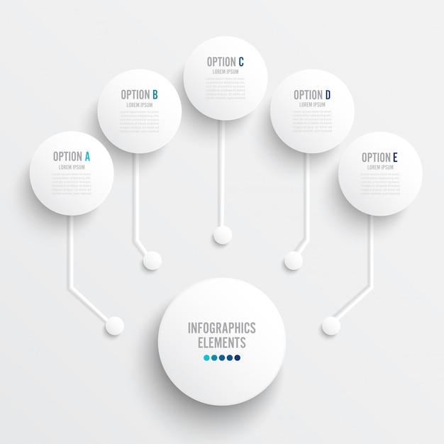 Modello di infografica con etichetta di carta 3d Vettore Premium