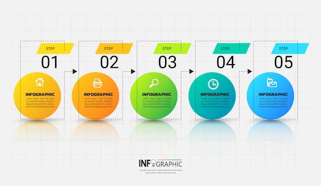 Modello di infografica con il concetto di contorno Vettore Premium