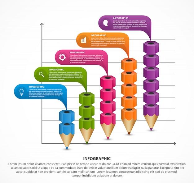 Modello di infografica con la matita. Vettore Premium