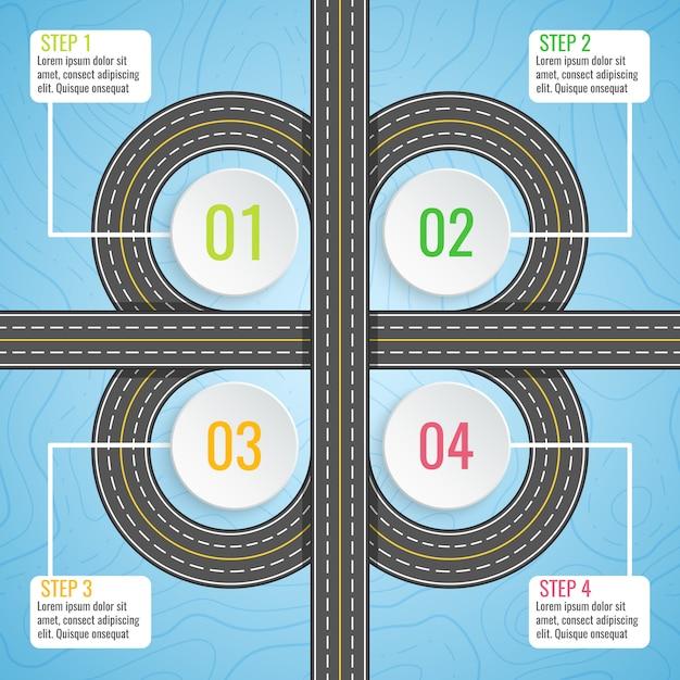 Modello di infografica con mappa stradale di trifoglio. Vettore Premium