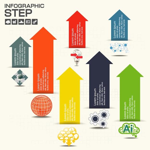 Modello di infografica con opzioni Vettore Premium