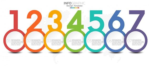 Modello di infografica con passaggi e processo per la progettazione. Vettore Premium