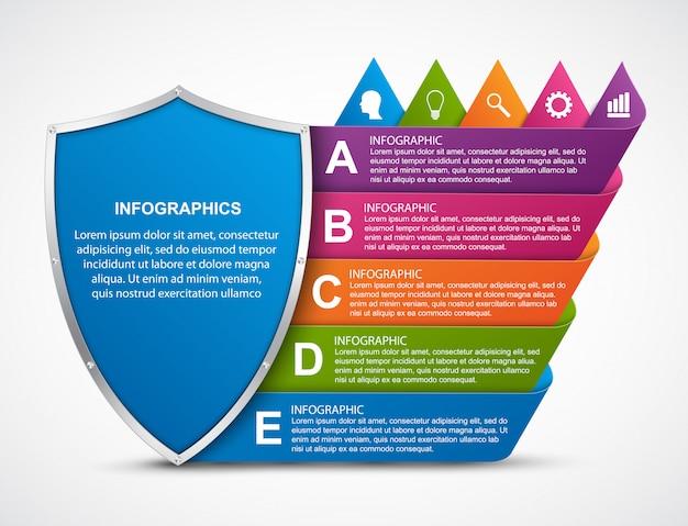Modello di infografica con scudo. Vettore Premium
