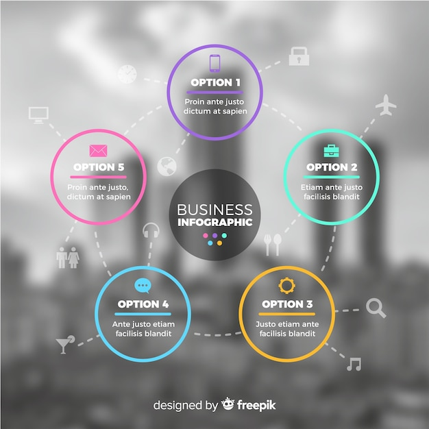 Modello di infografica di affari con foto Vettore gratuito