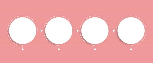 Modello di infografica di affari. cronologia con 4 passaggi di freccia circolare, quattro opzioni numeriche. elemento vettoriale Vettore Premium