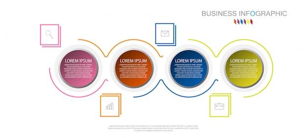 Modello di infografica di affari il concetto è il passo opzione cerchio 4 con colore pieno Vettore Premium