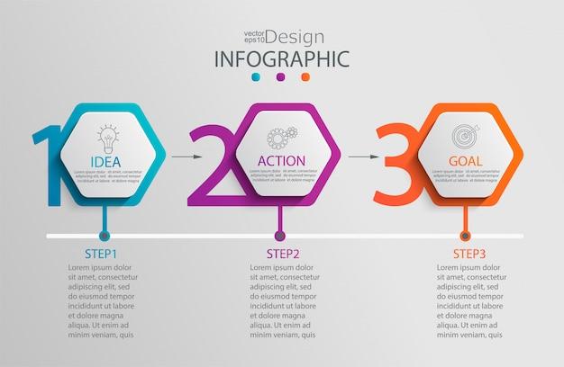 Modello di infografica di carta Vettore Premium
