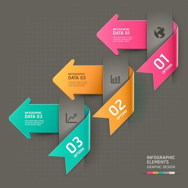 Modello di infografica freccia astratta. Vettore Premium