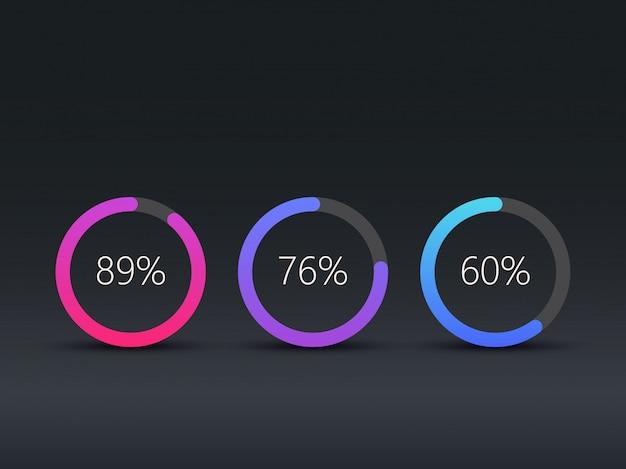 Modello di infografica grafici a torta Vettore Premium