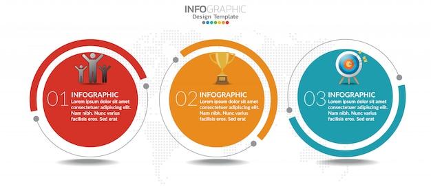 Modello di infografica grafico timeline con 3 passaggi o opzioni. Vettore Premium