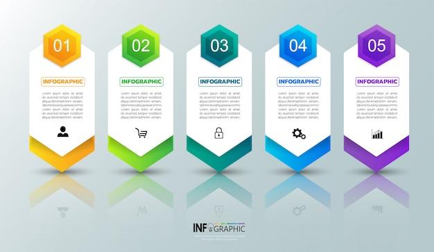 Modello di infografica in cinque passaggi Vettore Premium