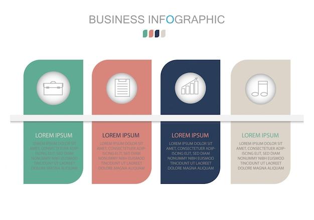 Modello di infografica in quattro fasi Vettore Premium