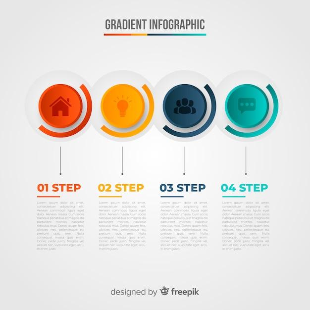Modello di infografica in stile colorato sfumato Vettore gratuito