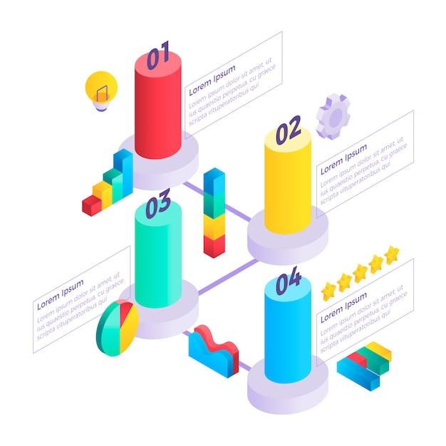 Modello di infografica isometrica Vettore gratuito