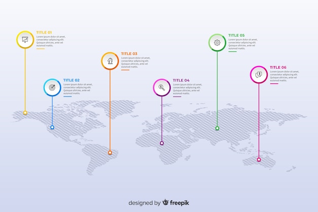 Modello di infografica mappa mondo design piatto Vettore gratuito